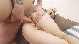 Blonde teen takes it down the ass in brutal modes