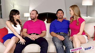 Judy Jolie and Diana Grace swap husbands and cum connected with a foursome