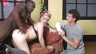 Candy Monroe makes her cuckold keep in view her being pounded by a black guy