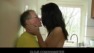 Young girl fucks hard the Old man in the scullery