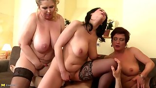 Lucky boy prosaic between 3 busty mothers