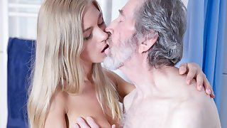Elderly Beggar Fucked Young Blonde Teen Blowjob Doggystyle and Cums