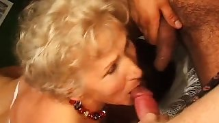 Disgusting granny in hardcore threesome